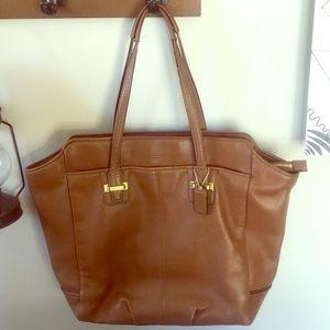 Coach tan luggage whiskey satchel tote bag